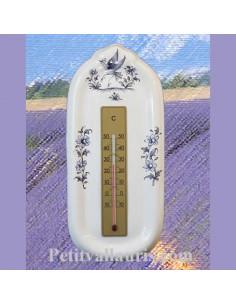 Thermomètre mural sur plaque en faience décor reproduction vieux moustiers bleu