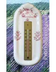 Thermomètre mural sur plaque en faience décor reproduction vieux moustiers rose