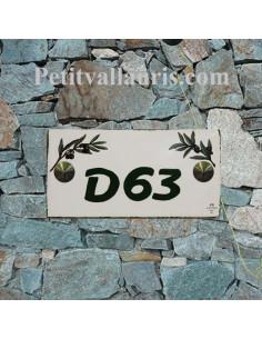 Plaque chiffre de maison faience émaillée motif brins d'olives chiffre personnalisé vert