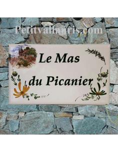 Plaque de Villa rectangle décor cabanon + olives et fleurs jaunes et vertes aux angles + personnalisation
