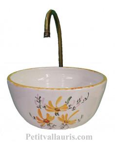 Mini Vasque bol ronde en faience blanche motif artisanal fleurs jaunes foncé