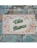 Plaque de Villa en céramique modèle rectangle motif artisanal fleurs roses aux angles + inscription personnalisée