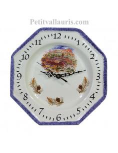 Horloge-Pendule murale en faïence blanche modèle octogonale collection provence décor village du var avec bordure bleu