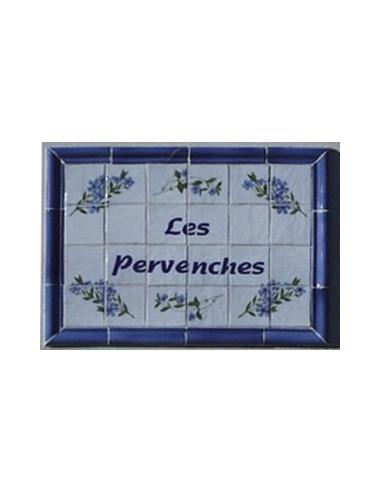 Fresque décorative Les Pervenches avec listel coloris bleu