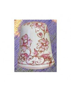 Dés à coudre en faïence décorative motif fleurs rose
