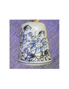 Dés à coudre en faïence décorative motif fleurs bleu