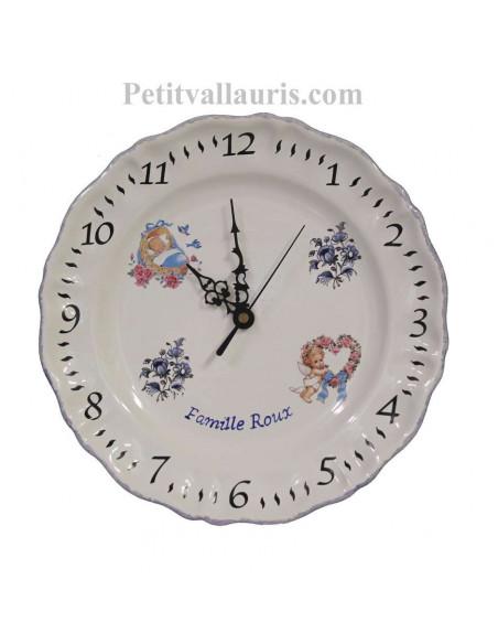 Assiette - Horloge en faience pour souvenir de naissance pour petit garçon