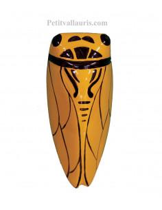 Grande cigale en céramique de couleur jaune provençale (Taille.5)