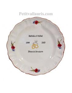 Assiette en faience pour souvenir anniversaire de mariage modèle Louis XV décor coquelicots et épis de blé