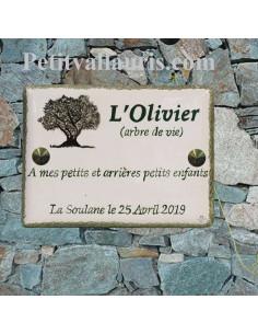 Plaque de maison en faïence émaillée motif artisanal l'olivier + inscription personnalisée