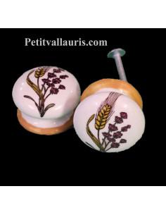 Bouton de tiroir en porcelaine blanche pour mobilier décor brins de lavande et épis de blé (diamètre 35 mm)