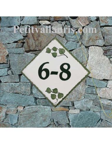 Numéro de maison en faience + gravure personnalisée décor Brin d'Orchidée-cattleyas pose diagonale