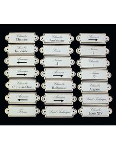 Plaque nominative de porte en faience blanche avec inscription personnalisée et filet or
