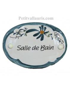 Plaque de porte modèle ovale décor tradition fleurs bleues canard avec inscription Salle de bain