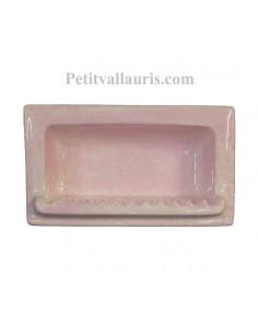 Porte savon en faience modèle rectangle à encastrer de couleur dégradée uni rose brillant