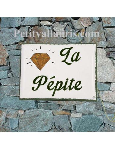 Plaque de maison en céramique émaillée motif cactus avec inscription personnalisée
