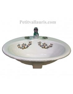 Vasque ovale en porcelaine blanche à encastrer décor bouquets de fleurs polychrome