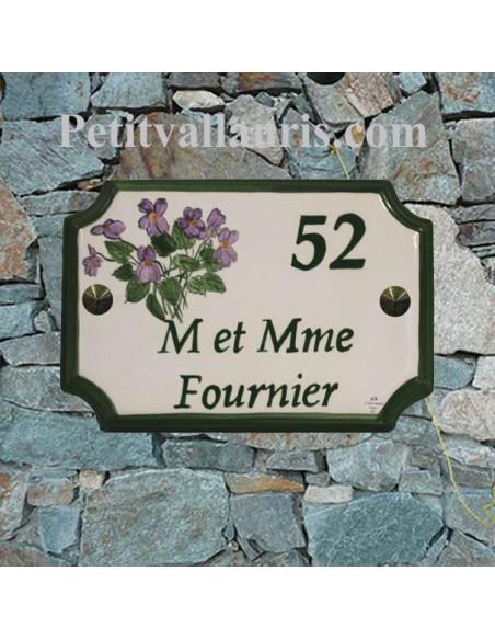 Plaque de Maison en céramique aux angles incurvés motif artisanal les violettes avec inscription personnalisée