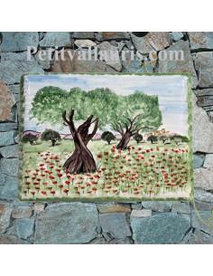 plaque pour maison céramique décor artisanal champs d'oliviers et de coquelicots + inscription couleur verte