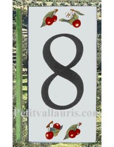 Numero de rue chiffre 8 décor cerises