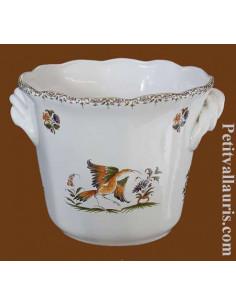 Petit cache pot en faience blanche modèle facettes taille 1 décor reproduction vieux moustiers
