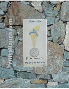 Grande plaque de maison rectangle en faience 40 x 20 cm décor artisanal Fanny et Pétanque + personnalisation