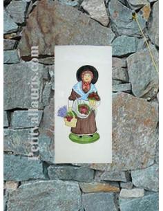 Grande plaque de maison rectangle en faience 40 x 20 cm décor artisanal Santon Marchande de fleurs