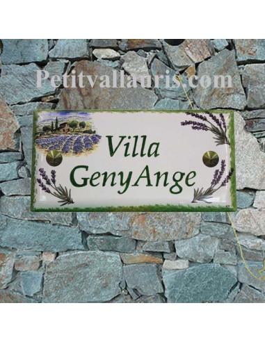 Plaque de maison faience émaillée décor paysage lavande inscription personnalisée verte
