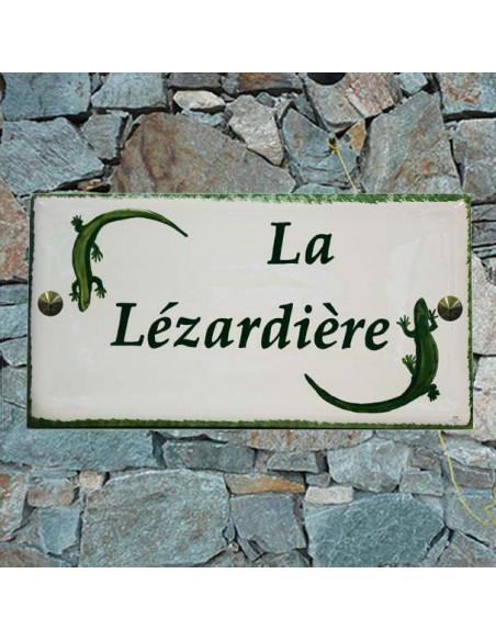 Grande plaque de maison rectangle en faience 40 x 20 cm décor artisanal Les 2 Lézards verts + personnalisation