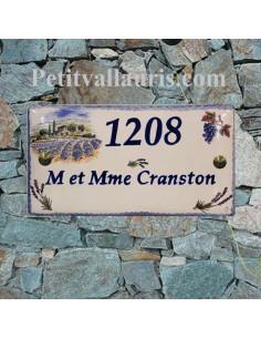 Plaque de Maison rectangle en céramique décor bastide champs de lavandes et grappe de raisins + inscription personnalisée