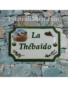 Plaque de Maison en céramique aux angles incurvés motif cabanon avec champs coquelicots + inscription personnalisée