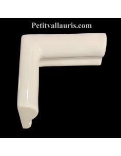 Listel d'angle droit concave modèle corniche en faience émaillée couleur unie blanc