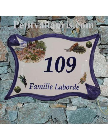 Plaque de maison en céramique modèle parchemin motif Mas, Mimosas, Cigale et Olivier + personnalisation