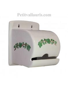 Dérouleur-dévidoir de papier toilette fermé en faience blanche motif artisanal lierre décor porcelaine de paris
