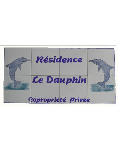 Fresque décorative d'immeuble sur carrelage en faïence Dauphins