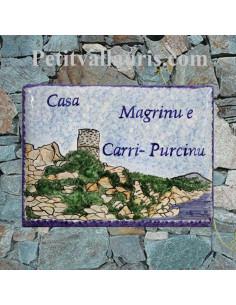 plaque pour maison céramique décor artisanal tour Génoise et littoral ile de la corse + inscription personnalisée
