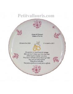 plat rond pour souvenir Mariage décor fleurs roses et inscriptions personnalisées