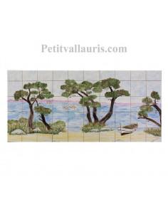Fresque murale sur carrelage en faience décor artisanal motif bord de mer 47 x 100
