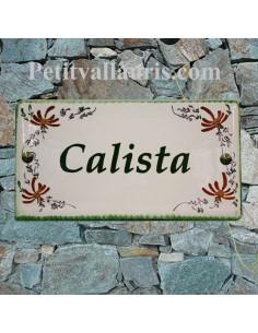 Grande plaque de maison rectangulaire 20x40 en céramique émaillée motif artisanal fleurs de couleur brique + personnalisation