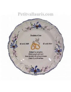 Assiette anniversaire de mariage pour noces d'or personnalisable modèle Louis XV décor fleurs bleues