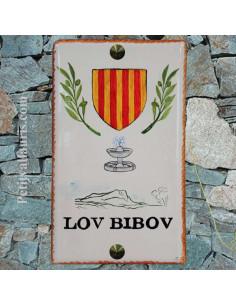 Plaque rectangle en céramique motif artisanal avec ecusson de provence + mont garlaban et fontaine
