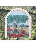 Fresque moulure champ d'oliviers et texte personnalisable