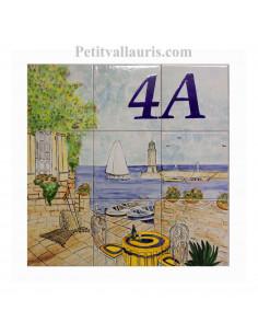 Fresque murale sur carreaux de faience décor artisanal modèle terrasse sur le port en 45x45 cm