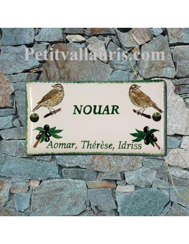 Plaque de Maison en céramique émaillée décor artisanal les grives + inscription personnalisée