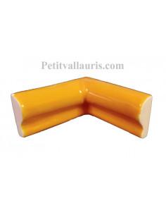 Listel d'angle droit concave modèle corniche en faience émaillée couleur unie jaune provençal