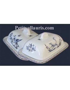 Beurrier en faïence blanche décor reproduction tradition vieux moustiers bleu