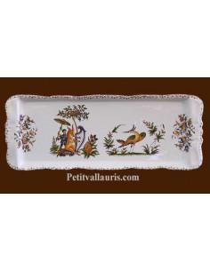 Plat de présentation à cake en faience blanche décor reproduction vieux moustiers polychrome