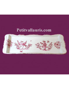 Plat à cake décor Tradition Vieux Moustiers rose
