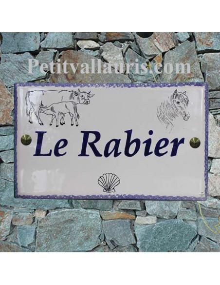 Plaque en céramique forme rectangle décor artisanal vache et veau + tête de cheval + coquille st jacques + personnalision