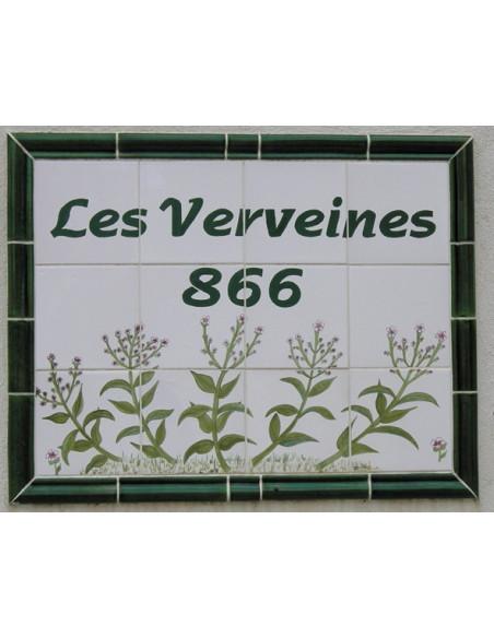 Fresque en faience personnalisée décorative de copropriété privée motif Verveines